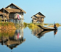 Burmese Architecture - Houses on Lake Inle