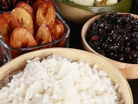 Belizean Food - Rice, beans, & plantains