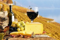 Swiss Food - Cheese and wine