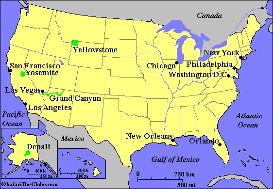 United States Of America - Us wildlife map of the 1400s